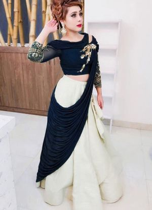 Beautiful Navy Blue Plain Taffeta Silk Designer Lehenga