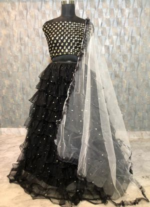 Beautiful Black Soft Mono Net Zari Embroidered Lehenga Choli