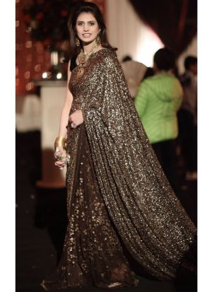 Beautiful Brown Color Most Popular Party Wear Saree