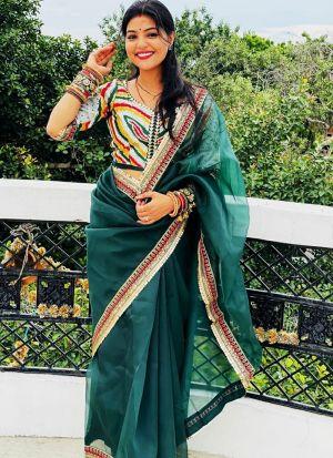 Beautiful Dark Green Heavy Organza Silk Saree