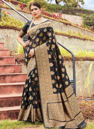Beautiful Design Black Cotton Handloom Saree For Festive