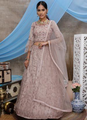 Beautiful Design Dusty Purple Embroidered Net Lehenga Choli