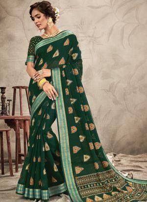 Beautiful Design Green Chanderi Saree For Festive