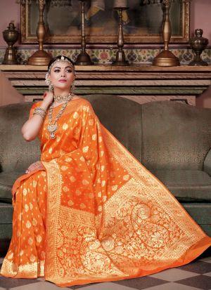 Beautiful Design Orange Pure Silk Saree For Festive