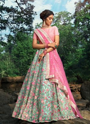 Beautiful Design Pista Green Sequence Zari Work Lehenga Choli