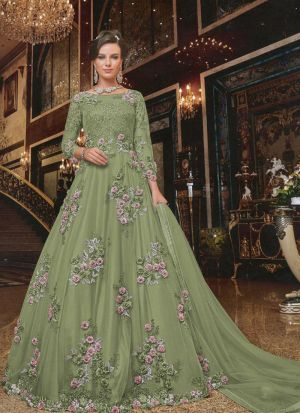 Beautiful Embroidered Mint Heavy Net Party Wear Gown