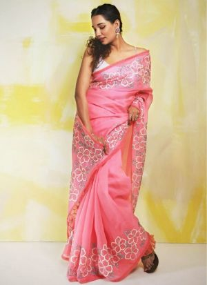 Beautiful Flower Embroidered Pink Saree