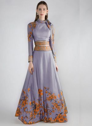 Beautiful Lavender Italian Silk Lehenga Choli With Stylish Scarf
