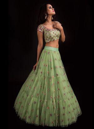 Beautiful Mint Green Net Zari Embroidered Lehenga Choli