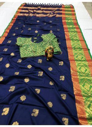 Beautiful Navy Cotton Silk Saree