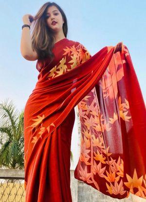 Beautiful Red Georgette Printed Saree