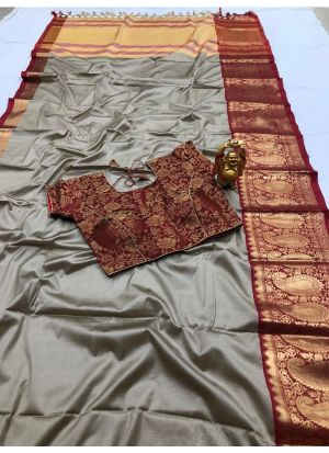 Beautiful Silver Cotton Silk Saree