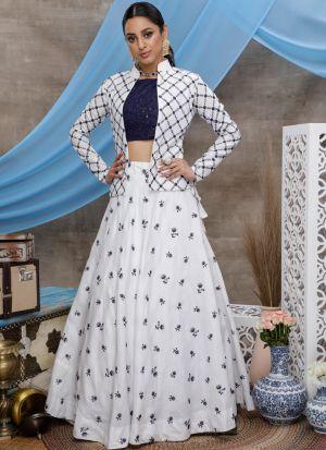 Beautiful White Pure Cotton Lehenga Choli With Koty Design