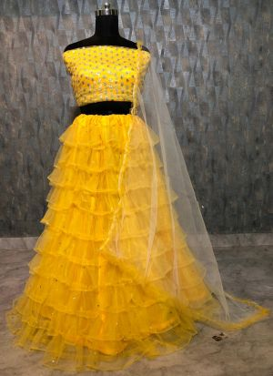 Beautiful Yellow Soft Mono Net Zari Embroidered Lehenga Choli