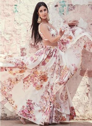 Beautifully Flower Printed Off White Bollywood Style Lehenga Choli