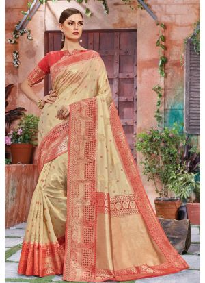 Beige Banarasi Crystal Silk Festive Wear Traditional Saree