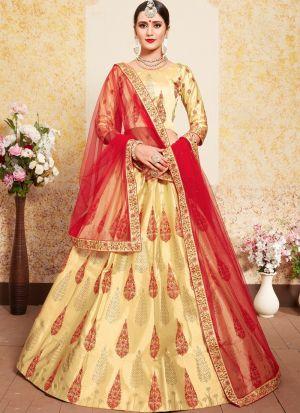 Beige Embroidered Designer Bridal Lehenga Choli
