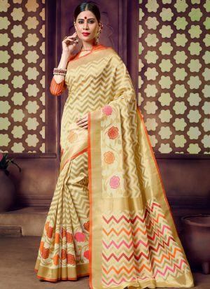 Beige Handloom Cotton Most Beautiful Saree Collection