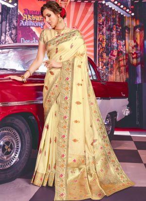 Beige Jacquard Silk Designer Traditional Saree For Wedding