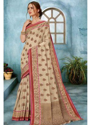 Beige Linen Silk Most Beautiful Saree Collection