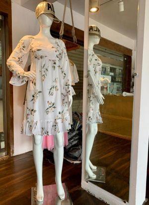 Beige Printed Chiffon Stylish Dress