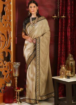 Beige Silk Embroidered Party Wear Designer Saree