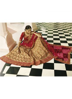Beige Taffeta Silk Designer Lehenga Choli With Thread Work SN 152