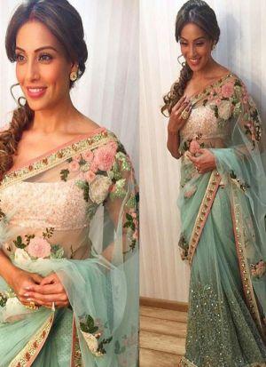 Bipasha Basu Bollywood Repilca Sky Blue Naylon Mono Net Designer Saree