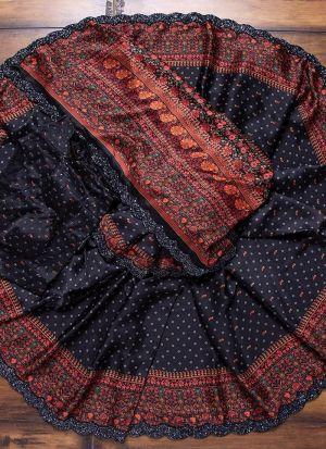 Black Chinon Silk Printed Saree