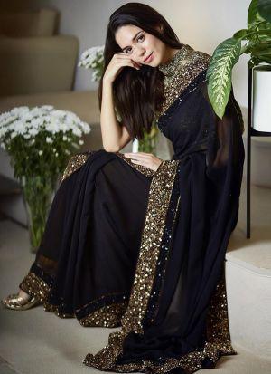Black Color Desirable Saree In 60 Gm Georgette Fabric