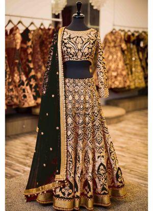 Black Designer Wedding Wear Banglori Silk Lehenga Collection