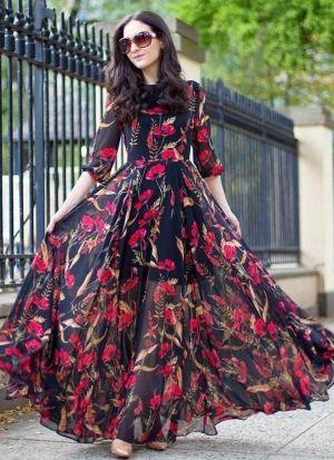 Black Digital Flower Printed Long Gown