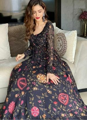 Black Digital Print Bollywood Style Lehenga Choli