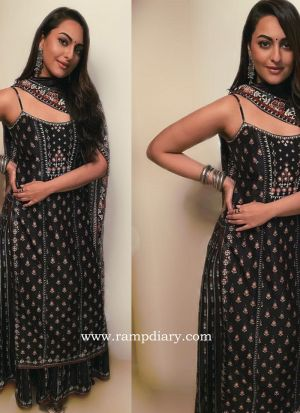 Black Digital Print Traditional Bollywood Style Suit