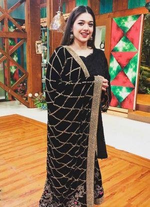 Black Festive Wear Thread Work Salwar Suit