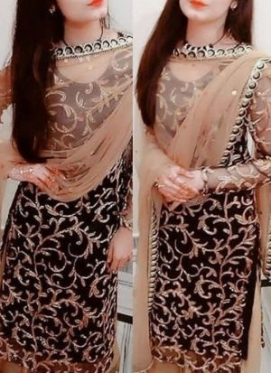 Black Georgette Embroideried Pretty Suit