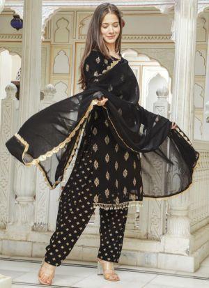 Black Georgette Printed Suit