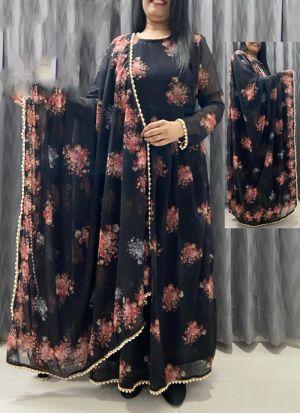 Black Georgette Printed Suit With Dupatta