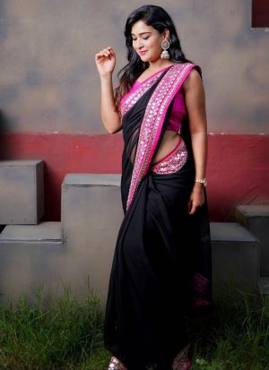 Black Georgette Stylish Saree With Paper Mirror Work Border