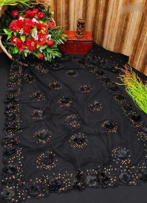 Black Mono Net Embroidery Saree