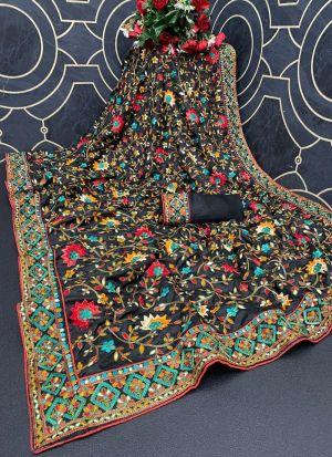 Black Multi Thread Work Silk Saree