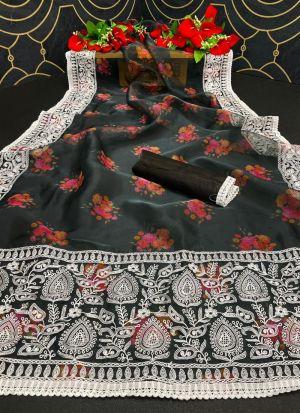 Black Organza Silk Printed Saree