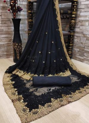 Black Party Wear Embroidery Saree