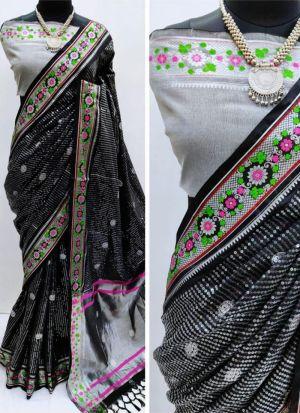 Black Pure Cotton Silk Saree