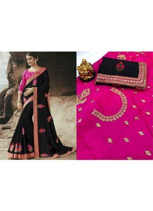 Black Rangoli Designer Traditional Saree
