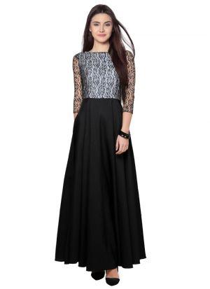 Black Rasal Net Long Gown