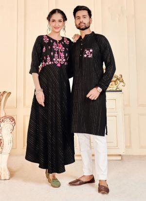 Black Rayon Lurex Couple Combo Set