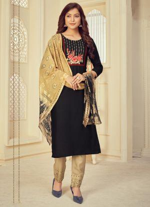 Black Rayon Printed Salwar Suit