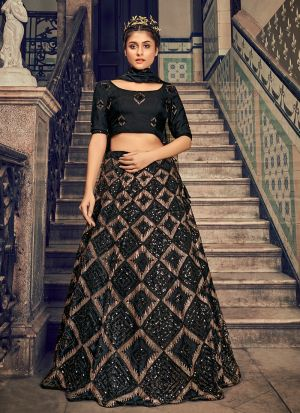 Black Sequence Embroidery Work Lehenga Choli