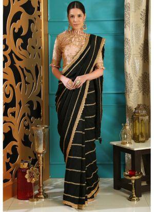 Black Silk Embroidered Party Wear Designer Saree
